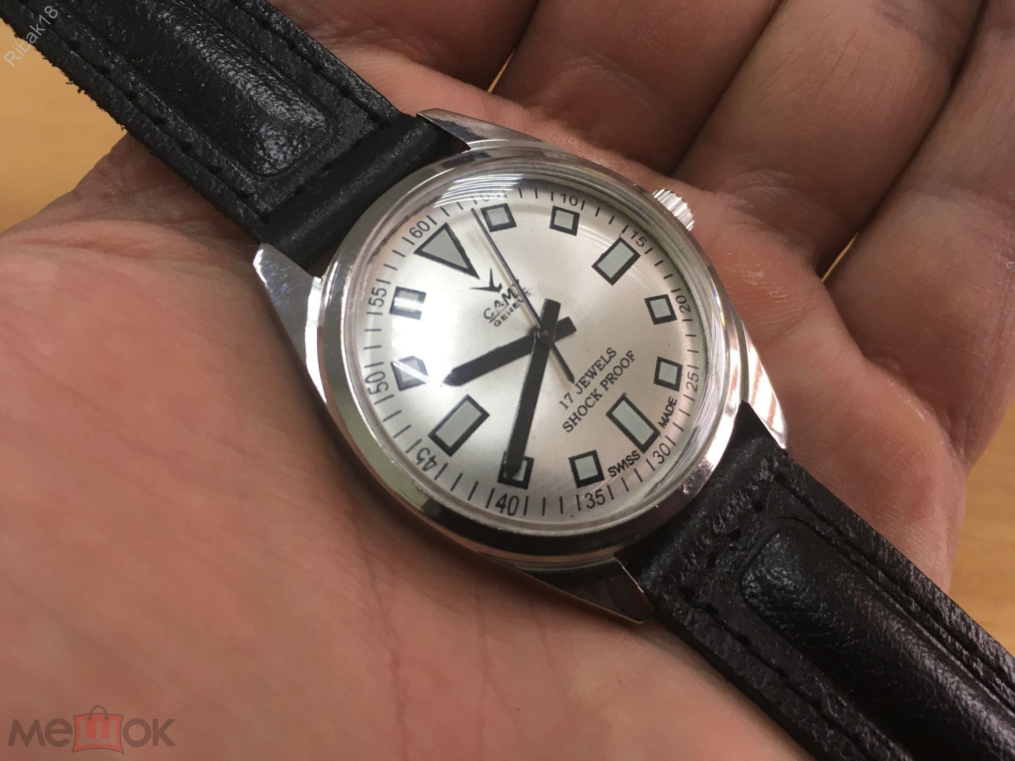 Camy швейцарские механические винтажные часы мужские