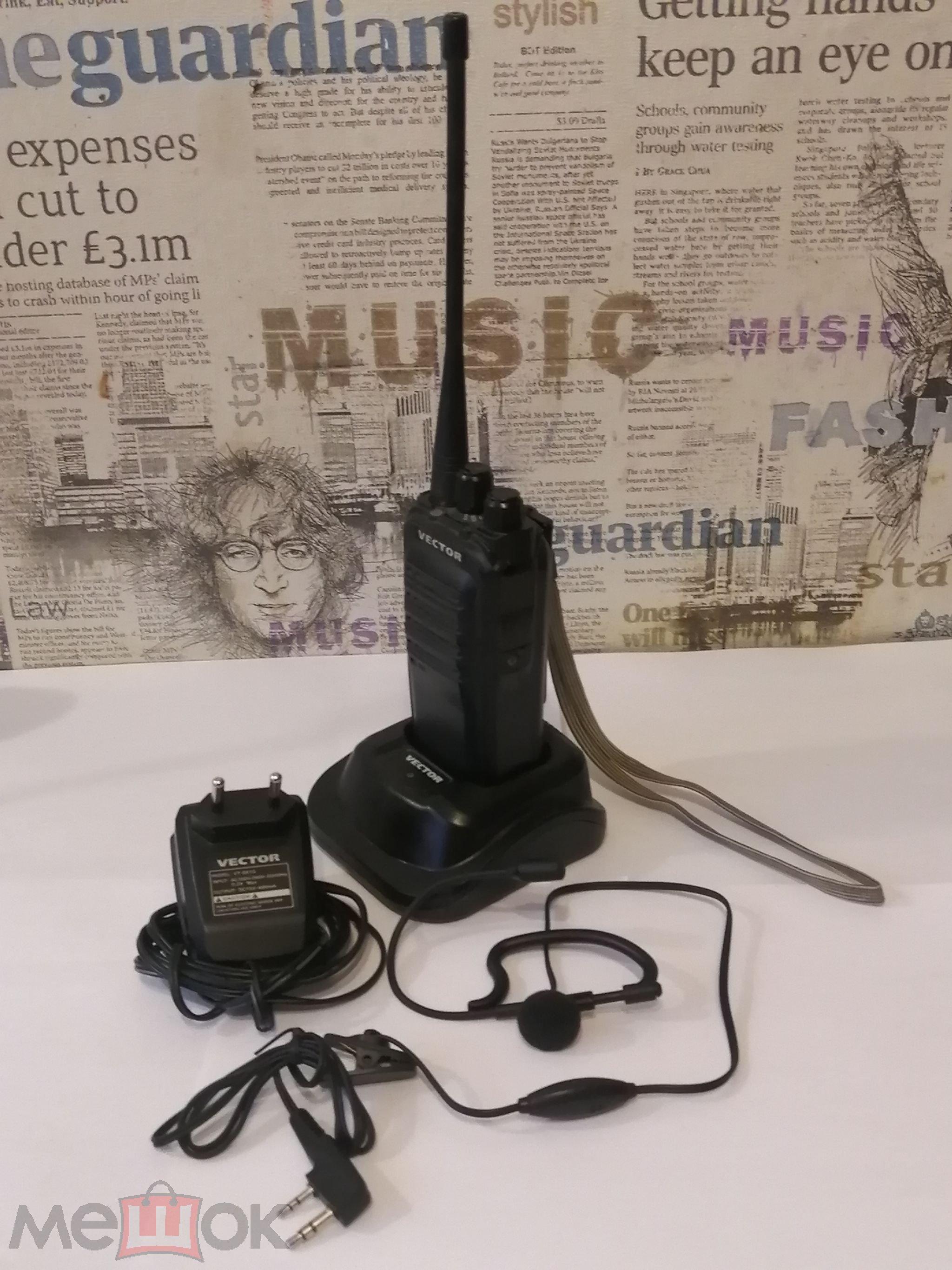 Сверхмощная радиостанция  Vector VT-44 TURBO с гарнитурой. (1 шт). Б/У