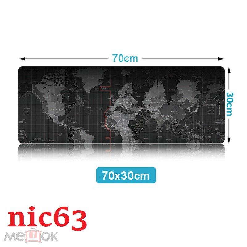 Большой игровой коврик на стол с картой мира для компьютерной мыши и клавиатуры 70 х 30 см