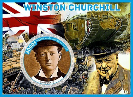 Знаменитые люди Великобритании Уинстон Черчилль комплект из 8 блоков
