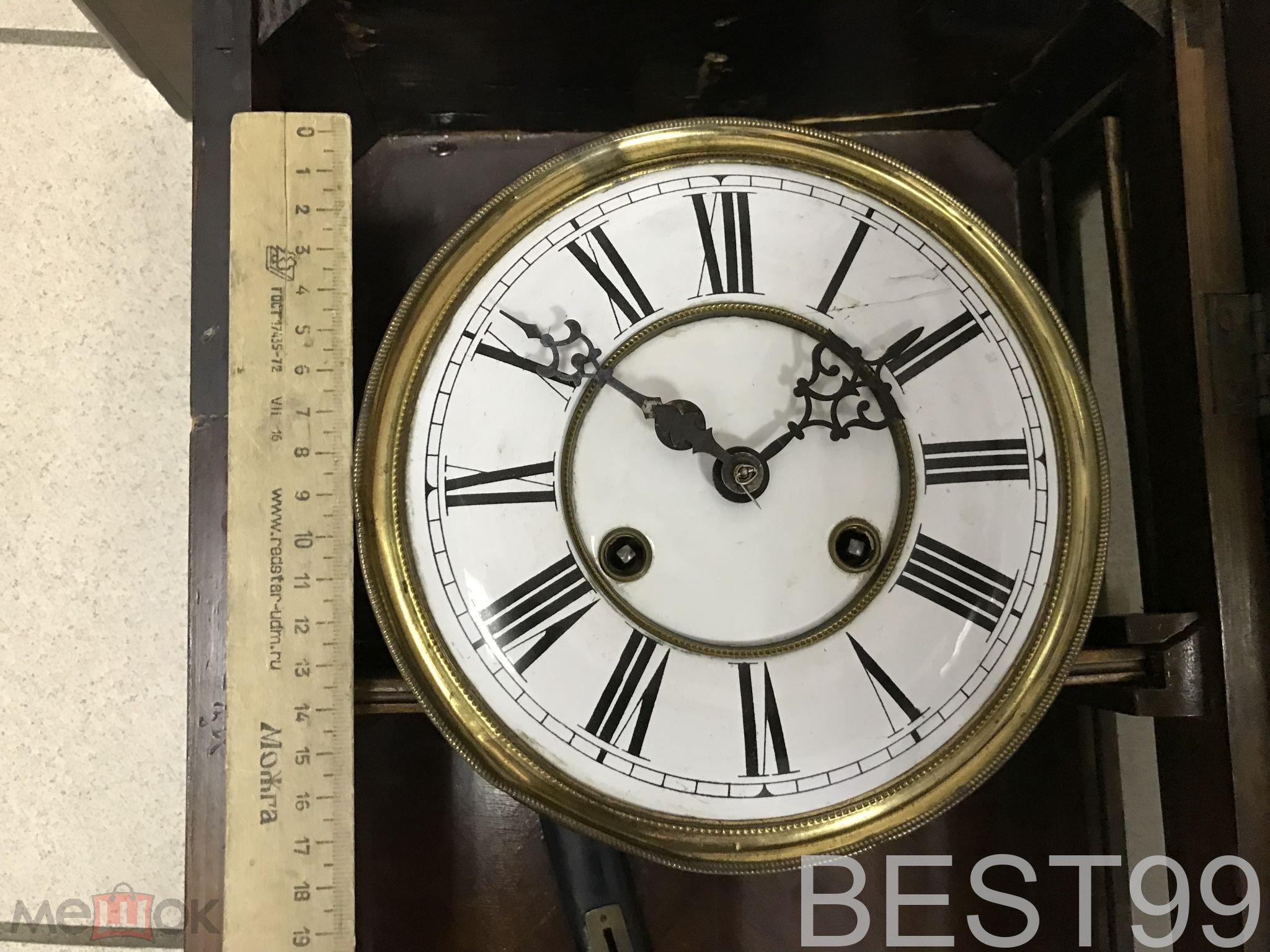 Старинные интерьерные настенные механические часы механизм Густав Беккр