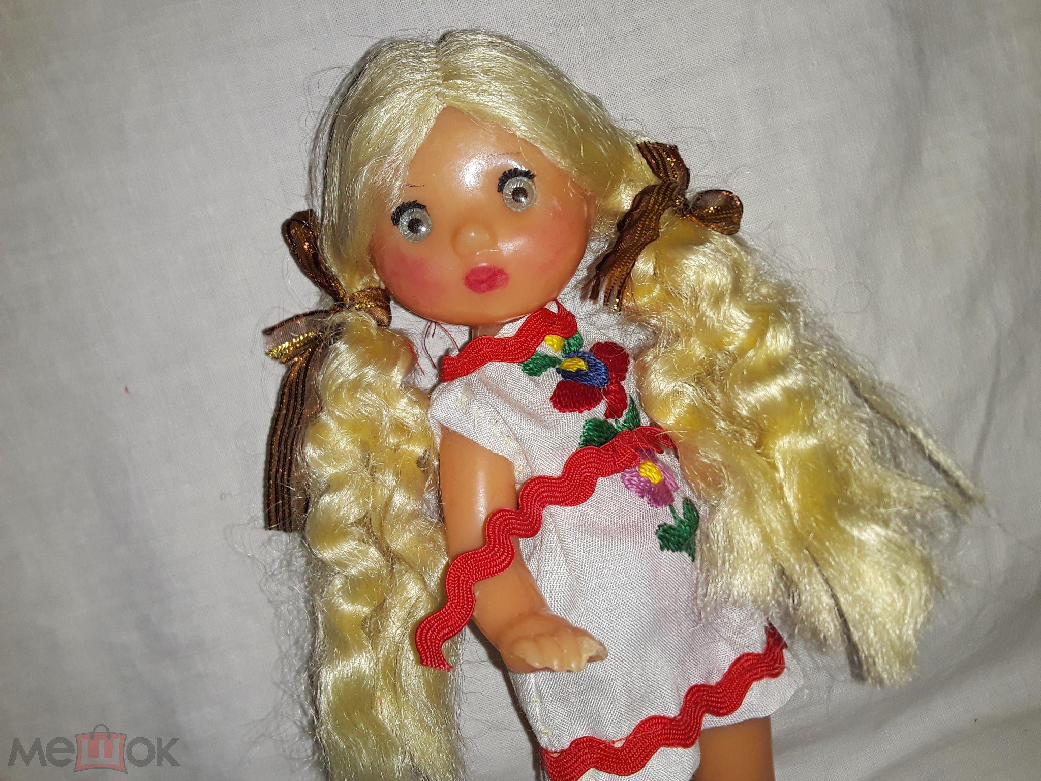 Кукла СССР  Паричковая  20 см. с голубыми глазками, в платочке