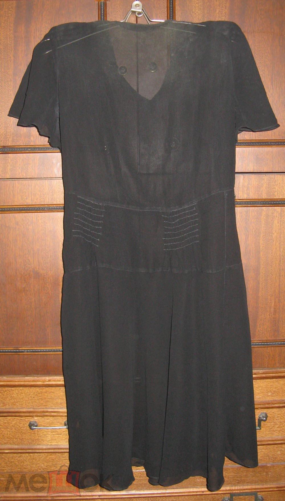 Платье шифон черный р. 48 б/у  дефекты ткань на рукоделие кукла