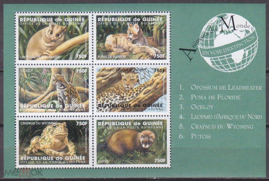 1998 Гвинея 6vKL Фауна 8,00 €