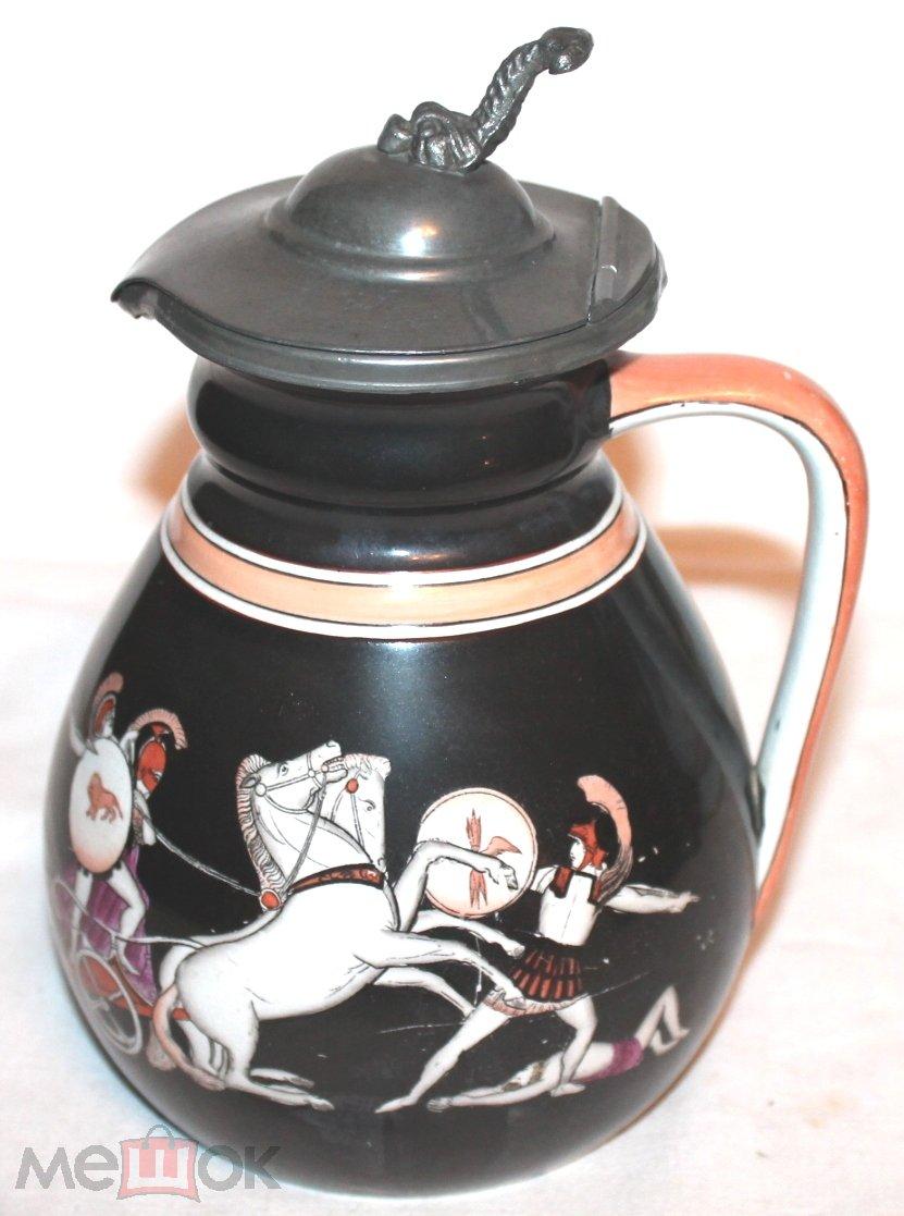 Антикварный к 19в - 1900 -е керамический кувшин ручная роспись Греческая мифология Англия