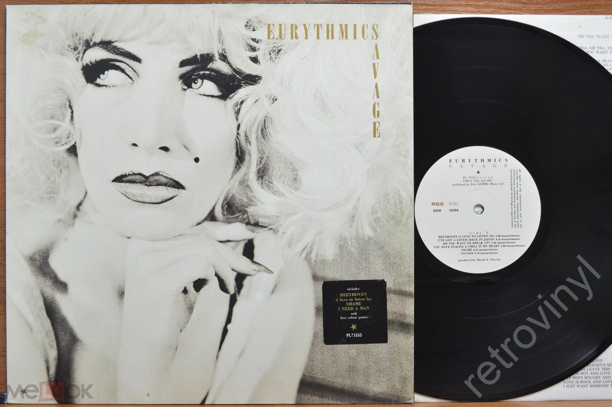 EURYTHMICS - Savage - PL 71555 RCA (UK) Ltd. =POSTER= ORIGINAL 1987 года GERMANY пресс MINT