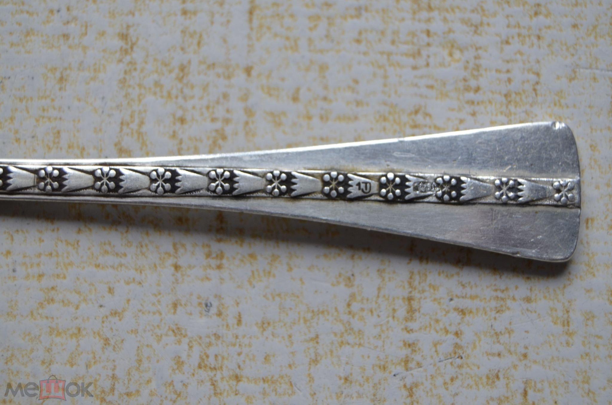серебряная чайная ложка серебро 916 проба клеймо звезда ссср позолота прибалтика таллин завод ложечк