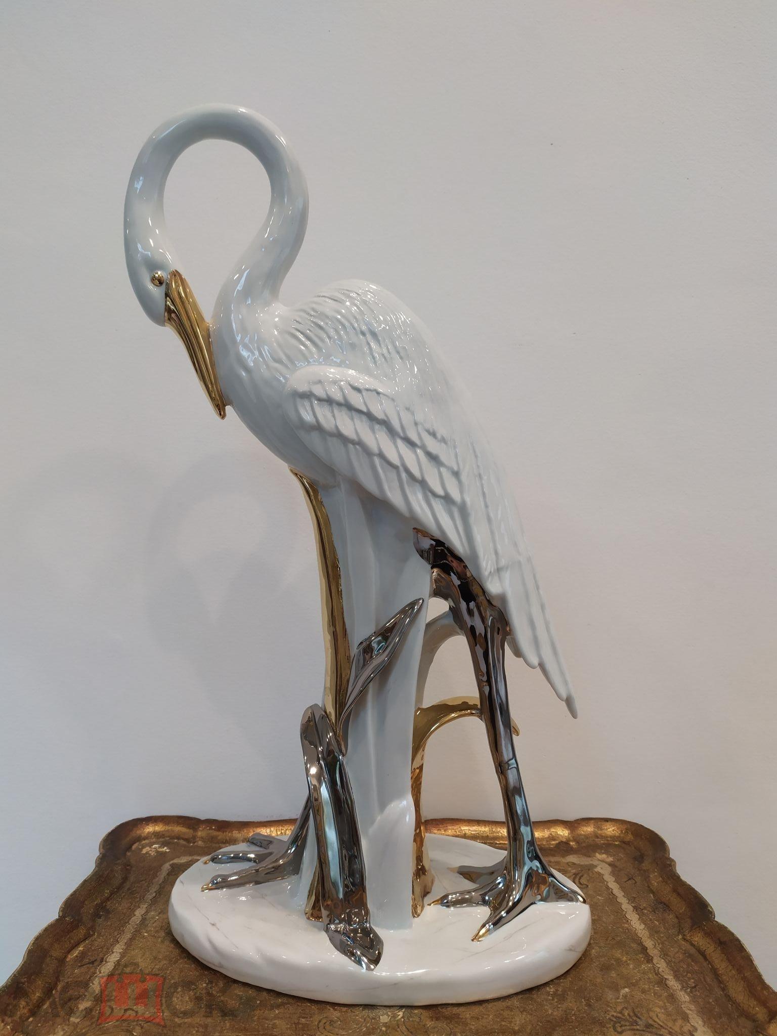 Фарфоровая статуэтка Огромная 54 см Цапля Птица Птичка.Италия.AHURA.Редкость!