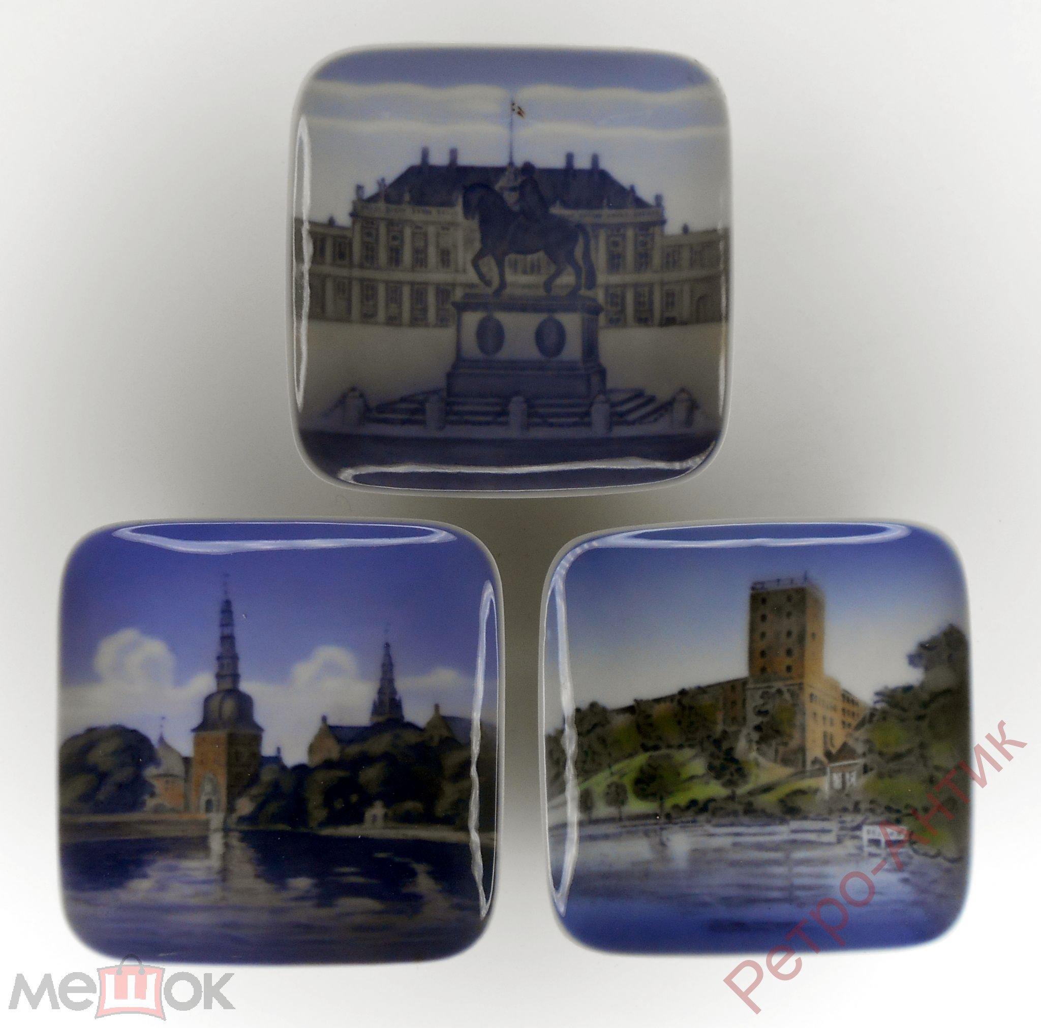 Декоративные тарелки, 3 штуки, Дания, фарфор, клеймо, Красота, с 1 рубля
