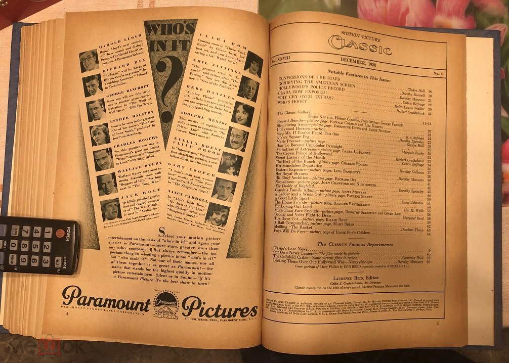 Подшивка журнала  motion picture classic 1928год, с мая по декабрь. В синем коленкоровом переплёте.