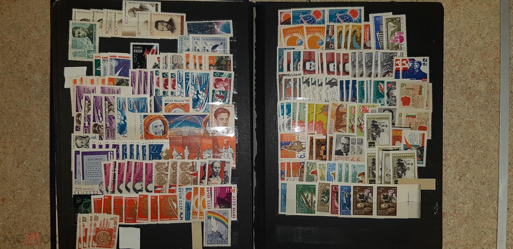 Альбом на 16 страниц полностью заполнен марками СССР 1957-1965 год.Много марок!!!
