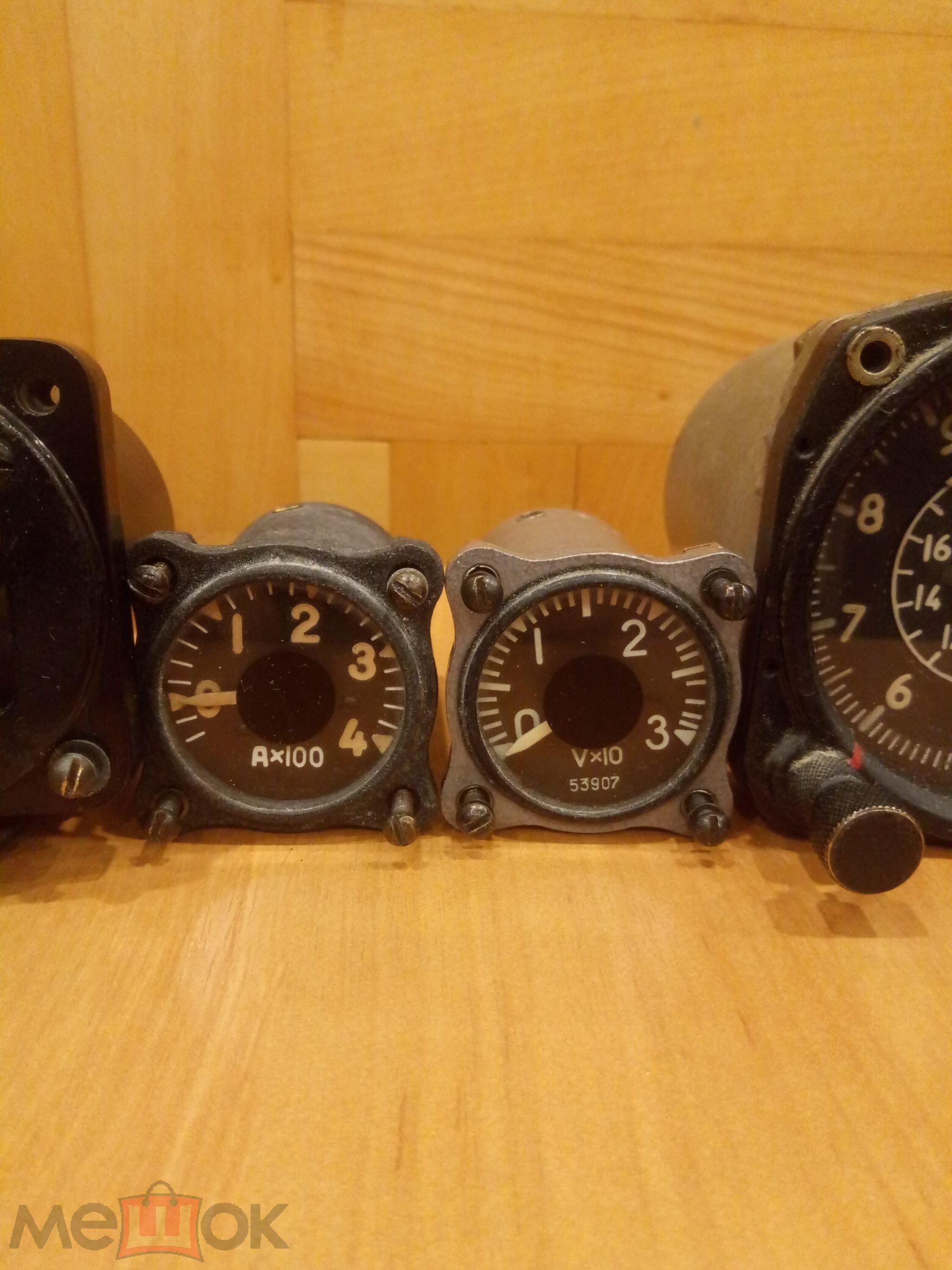 Авиационные приборы. 5 штук одним лотом. Высотомер. Вольтамперметр.Компас и др. С 1 рубля.