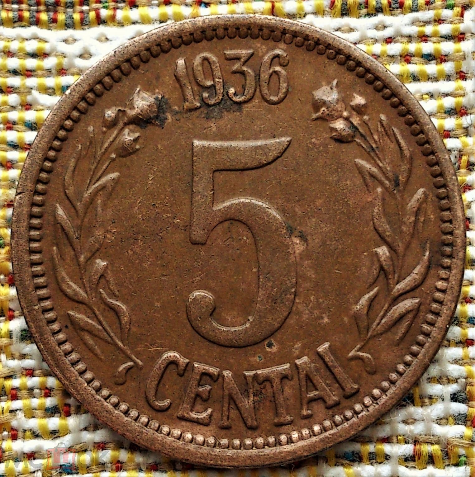 5  ЦЕНТОВ  1936 г.  ЛИТВА .  НЕЧАСТАЯ .  ОТЛИЧНОЕ  СОСТОЯНИЕ .  ОРИГИНАЛ .  №  89