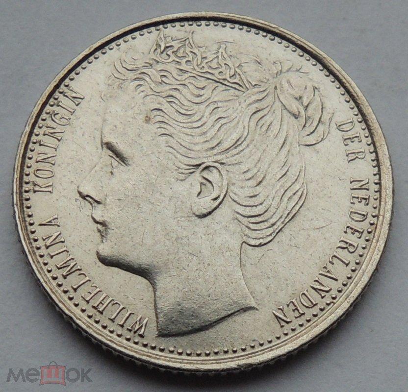 10 центов 1903 года, Вильгельмина, Королевство Нидерланды, серебро, редкость.