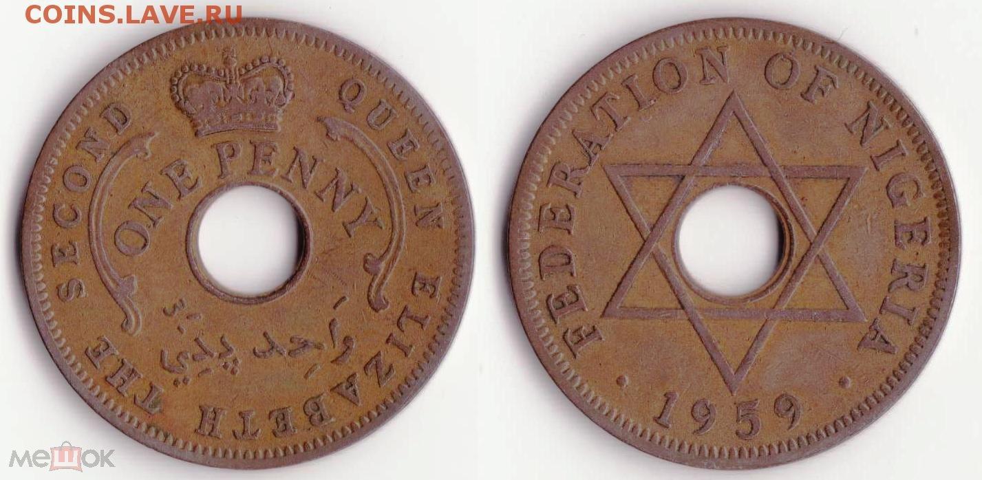 нигерия 1пенни 1959г б/у отличная