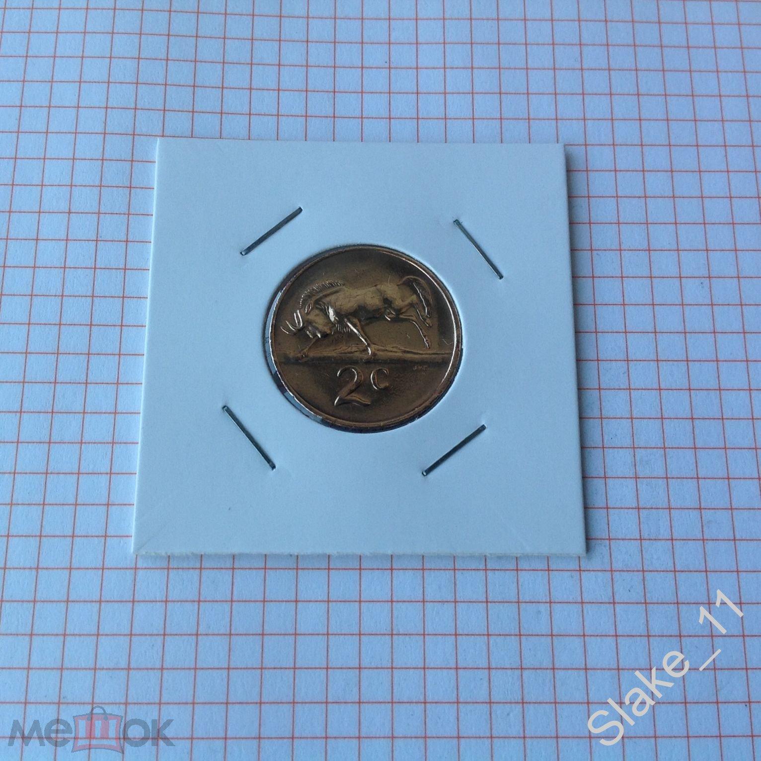 Южная Африка (ЮАР) 2 цента 1981 Республика SOUTH AFRICA антилопа гну холдер KM# 83