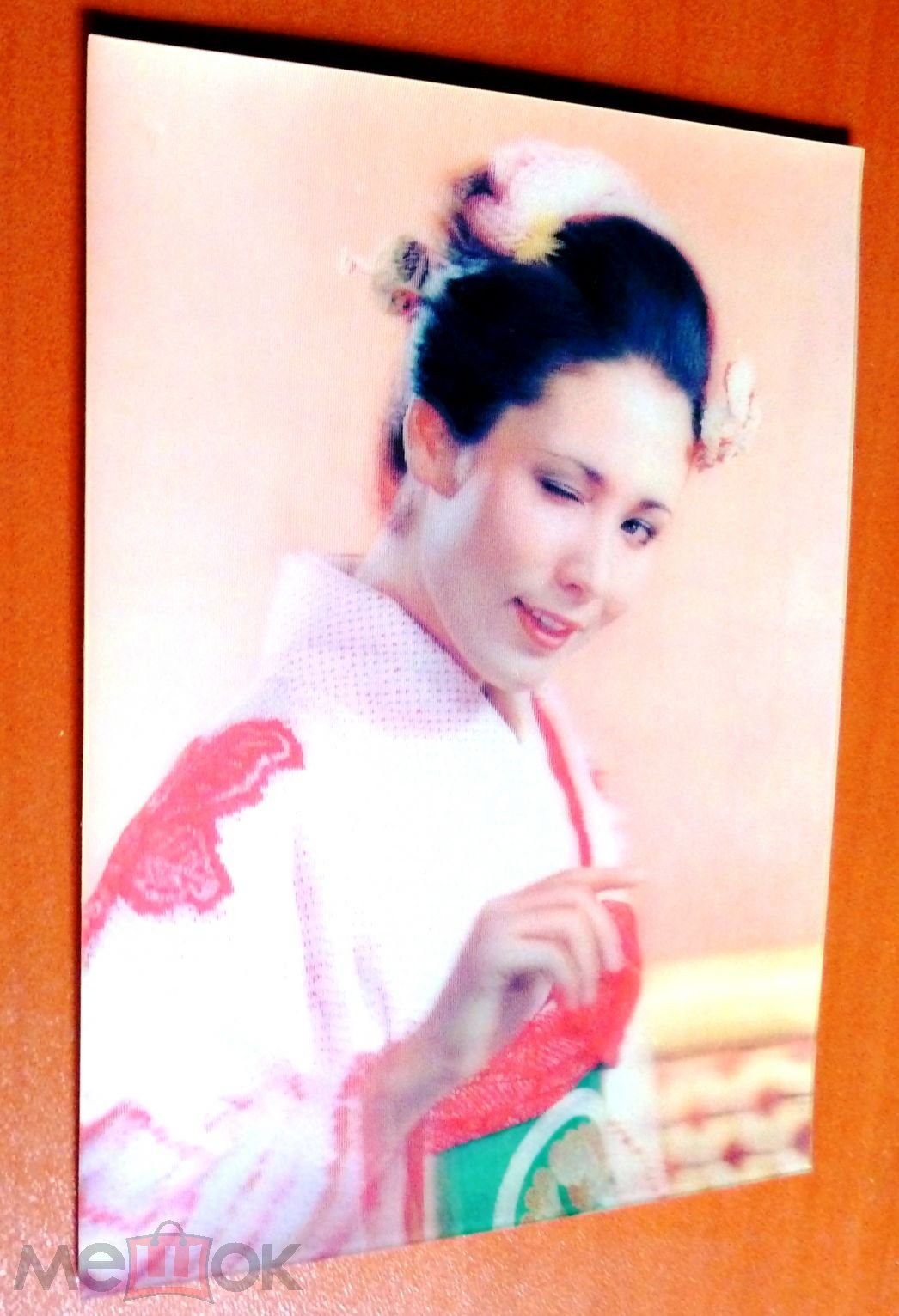 Стерео открытка девушка  подмигивает Япония, 3 D чистая