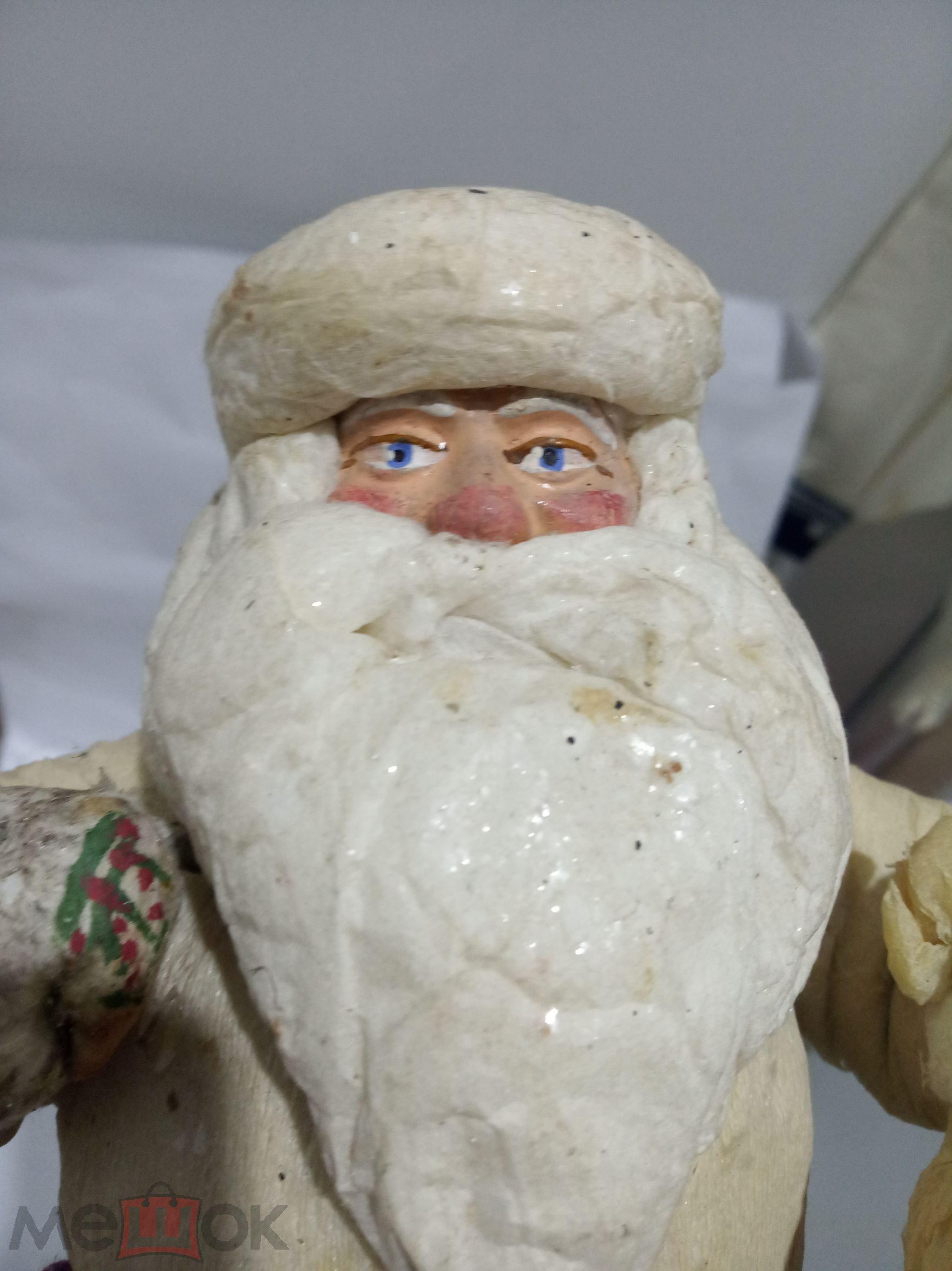 Старинный ДЕД МОРОЗ в красивой шубе с мешком из СССР 1957 год Вата, Папье Маше. Этикетка.