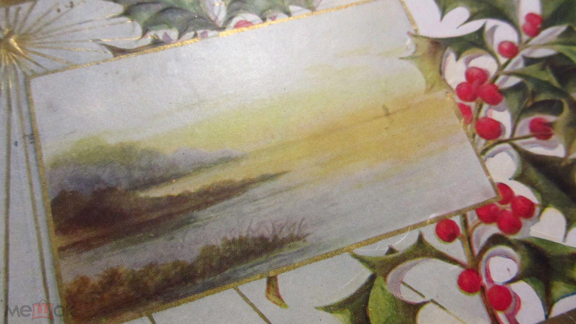Дореволюционная открытка Рождество Новый Год Лес Озеро Звезда Природа Пейзаж Золочение Тиснение