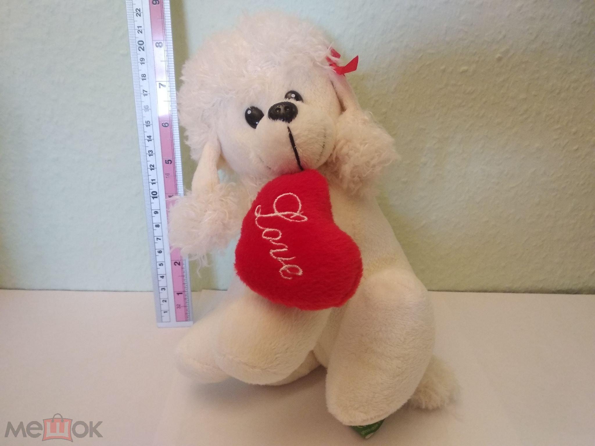 Мягкая игрушка пудель собачка с сердцем