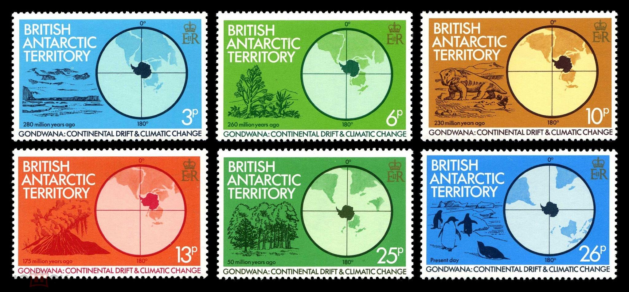 Британские Антарктические Территории БАТ BAT 1982 динозавры палеонтология ископаемая фауна флора