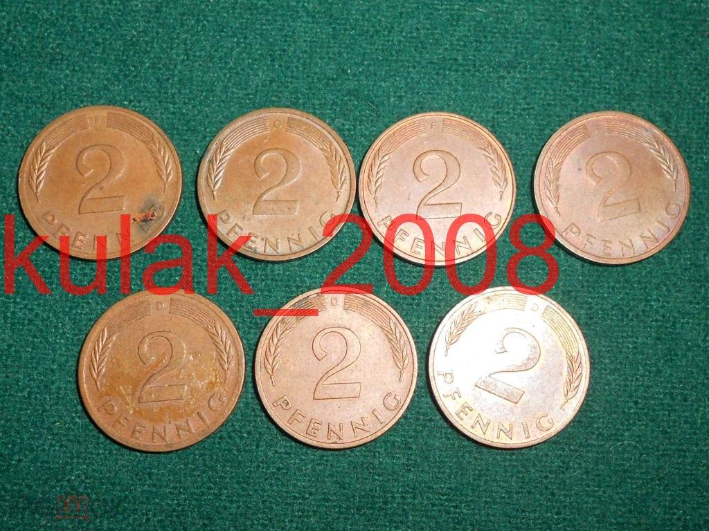 2 пфеннига.Германия. ФРГ.7 монет. См. описание.