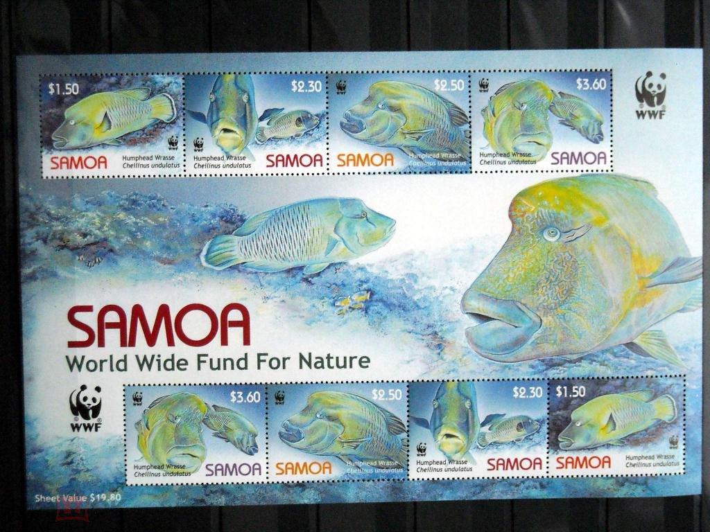 Самоа 2006 (Ми-1034-7) WWF Рыбы м-лист**