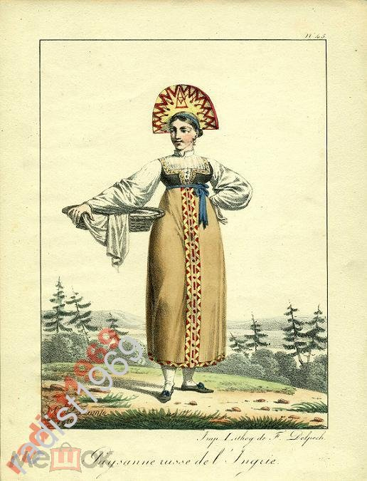 ГРАВЮРА 1819г  РУССКАЯ КРЕСТЬЯНКА ИЗ ИНГРИИ, ИЖОРА