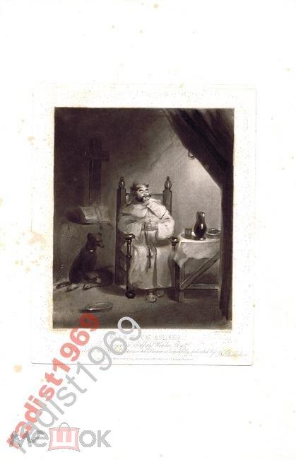 ГРАВЮРА МЕЦЦО-ТИНТО 1834 г. СПЯЩИЙ МОНАХ.
