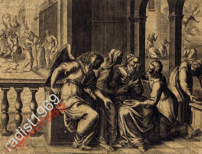 ГРАВЮРА ок 1585 г. МАРТИН ДЕ ВОС. ПРОЗРЕНИЕ ТОВИТА