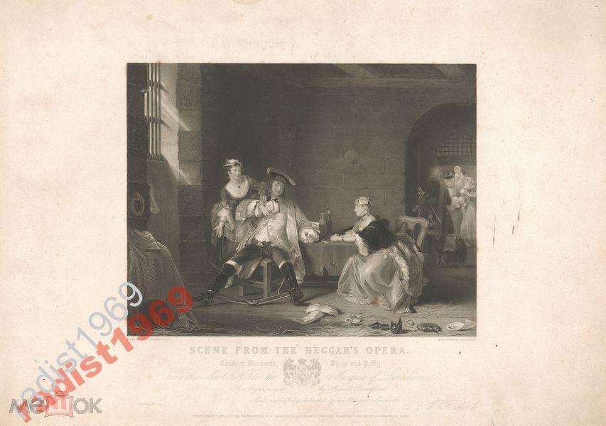 БОЛЬШОЙ ЛИСТ 1838 г. СЦЕНА ИЗ `ОПЕРЫ НИЩЕГО`