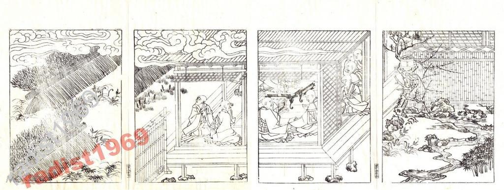ЯПОНСКАЯ ГРАВЮРА 1690? г. МОНАСТЫРСКАЯ КНИГА 8