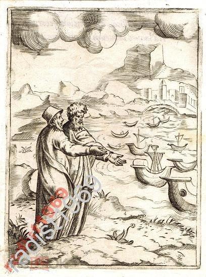 ГРАВЮРА 1555 г. БОНАСОНЕ. КУПЕЦ ПОКАЗЫВАЕТ КОРАБЛИ