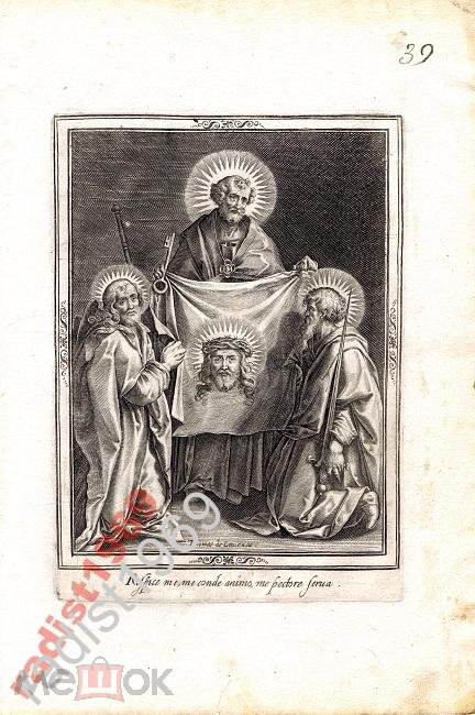 ГРАВЮРА 1599 г. ПЛАТ ВЕРОНИКИ. ТОМАС ДЕ ЛЁ