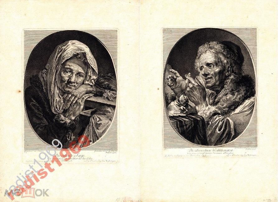 2 ГРАВЮРЫ 1772 г. ВОЛНЕНИЕ И МИЛОСТЬ. СТАРИКИ