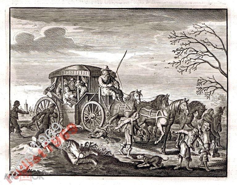 Ок. 1630 (1700) г КАТС. КАРЕТА С ЧЕТВЁРКОЙ ЛОШАДЕЙ