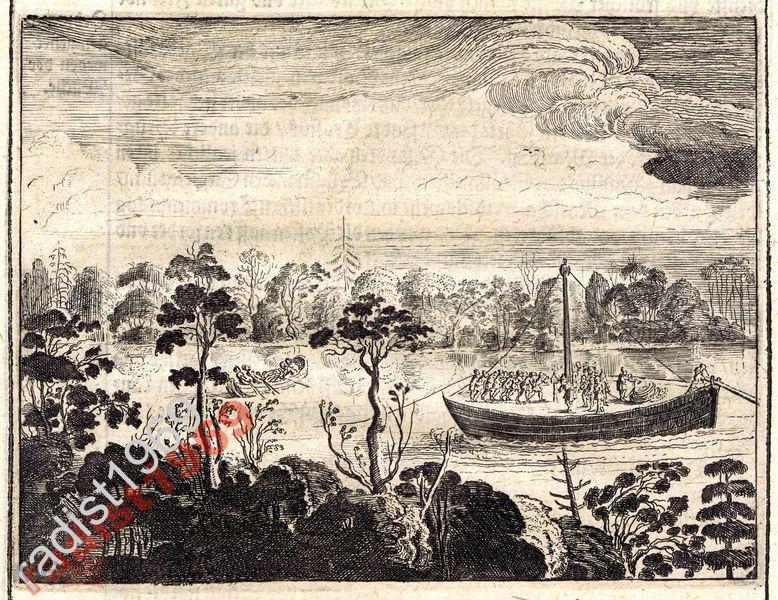 1663 г. ОЛЕАРИЙ. РУССКИЙ СТРУГ (СТРУГА) НА ВОЛГЕ
