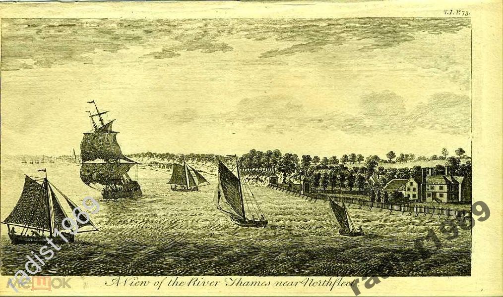 ГРАВЮРА 1776 АНГЛИЯ. ПАРУСНИКИ И РЕКА ТЕМЗА. СУПЕР