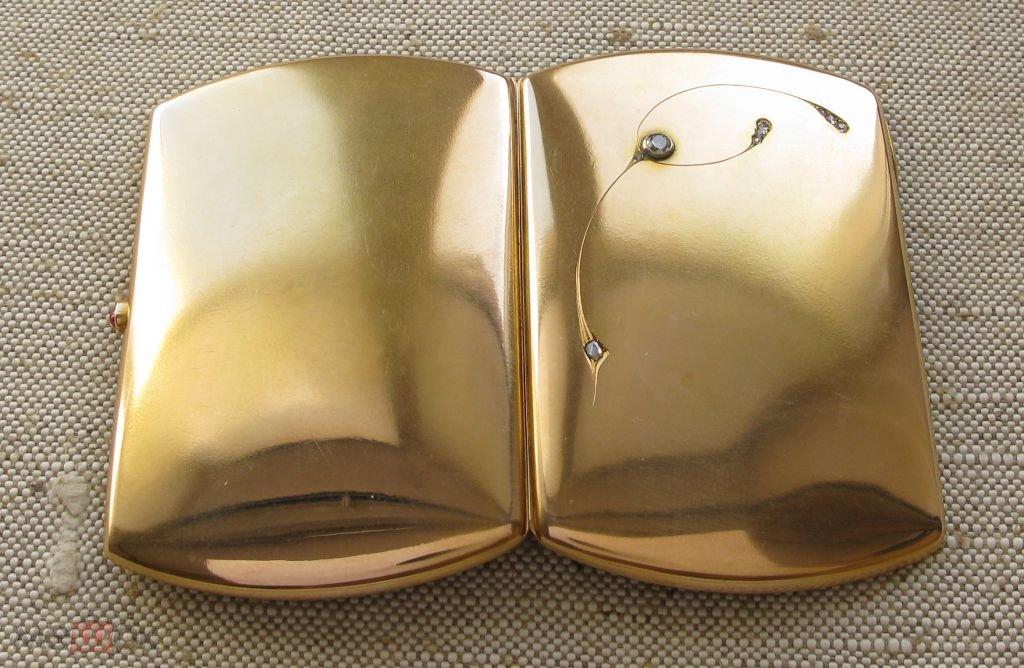 портсигар золотой с алмазами 0.48ct 585проба 70.7г