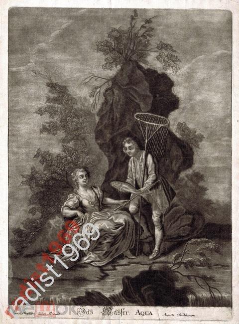 БОЛЬШОЙ ЛИСТ ок. 1750 г. ВОДА. РЫБАЛКА. РЫБА