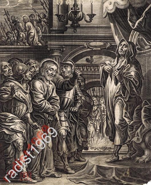 ГРАВЮРА 17 век. ИИСУС ХРИСТОС ПЕРЕД ИРОДОМ