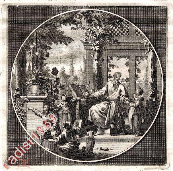ГРАВЮРА ок. 1700 г. ЯН ГУРЕ. ШКОЛА. ОБУЧЕНИЕ. УРОК