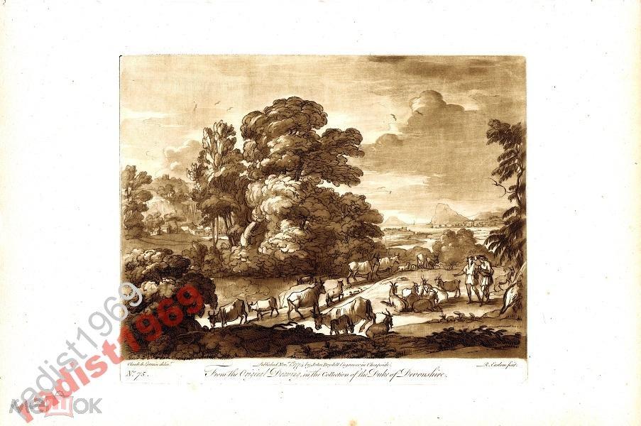 ГРАВЮРА 1774 г. СТАДО НА ВОДОПОЕ. ИРЛОМ. ЛОРРЕН