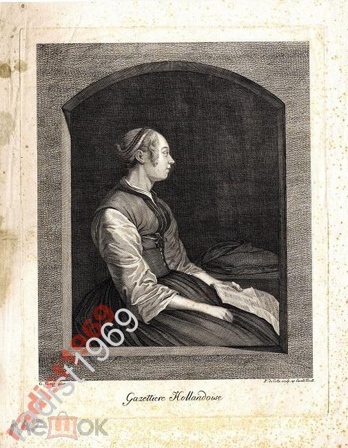 БОЛЬШОЙ ЛИСТ ок. 1780 г. ГОЛЛАНДСКАЯ ГАЗЕТЧИЦА
