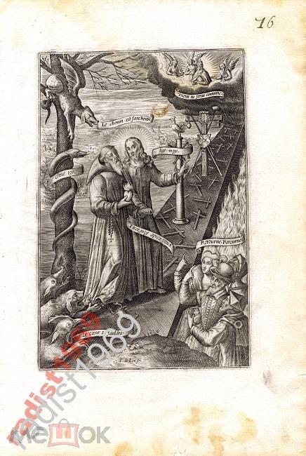 ГРАВЮРА ок. 1600 г. ИСКУШЕНИЯ НА ПРАВЕДНОМ ПУТИ