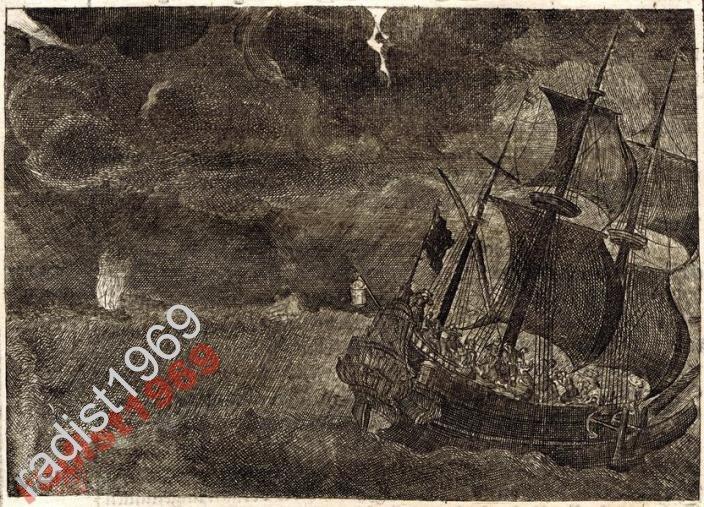 1663 г. ОЛЕАРИЙ. ПАРУСНИК. ШТОРМ В БАЛТИЙСКОМ МОРЕ
