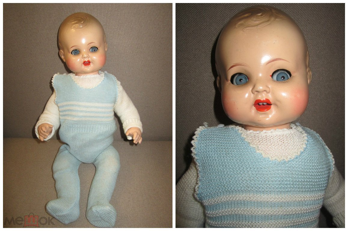 Старинная кукла композит K&W флиртует плачет Германия