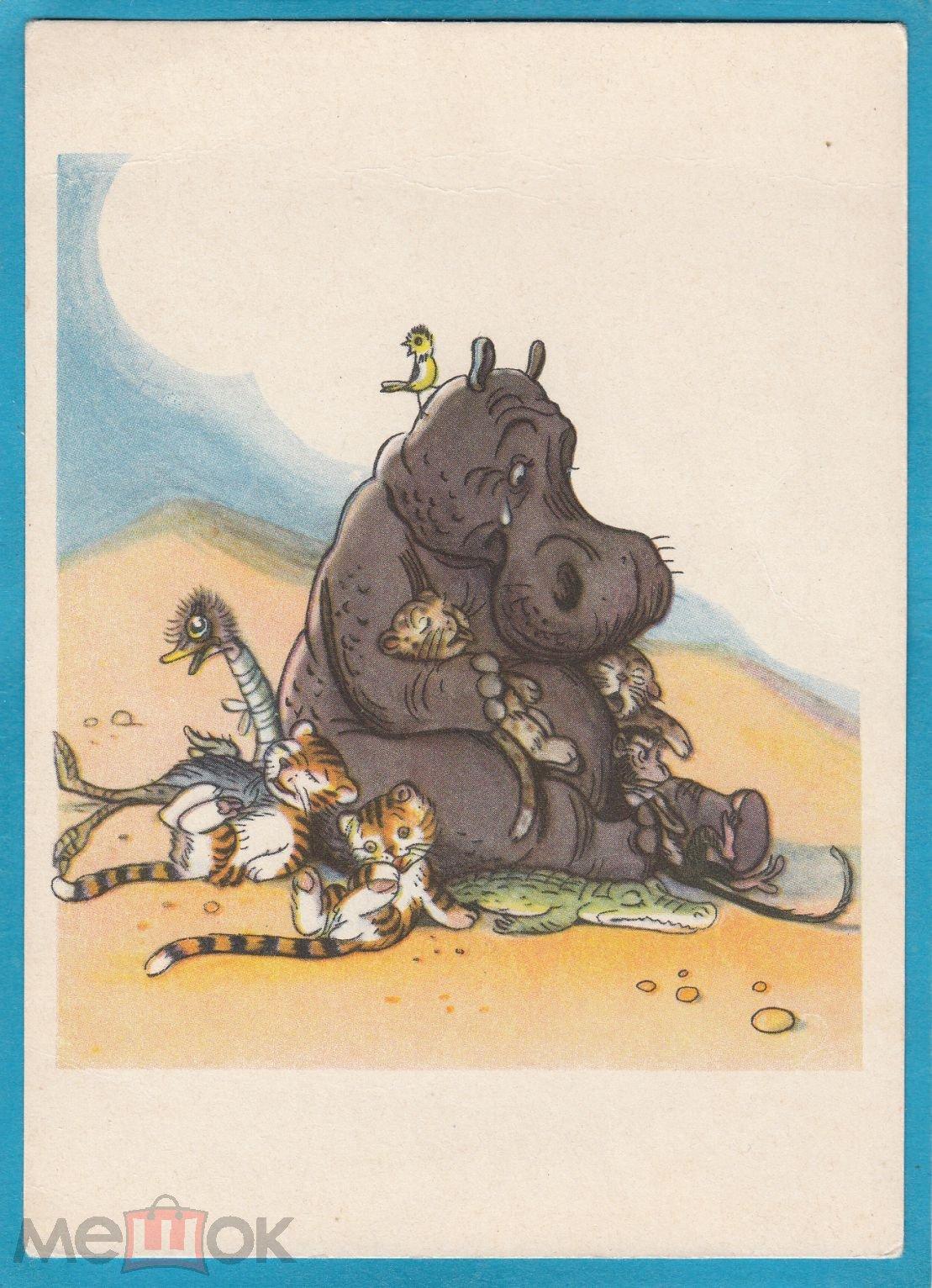 Бумаги, почтовые открытки бегемот