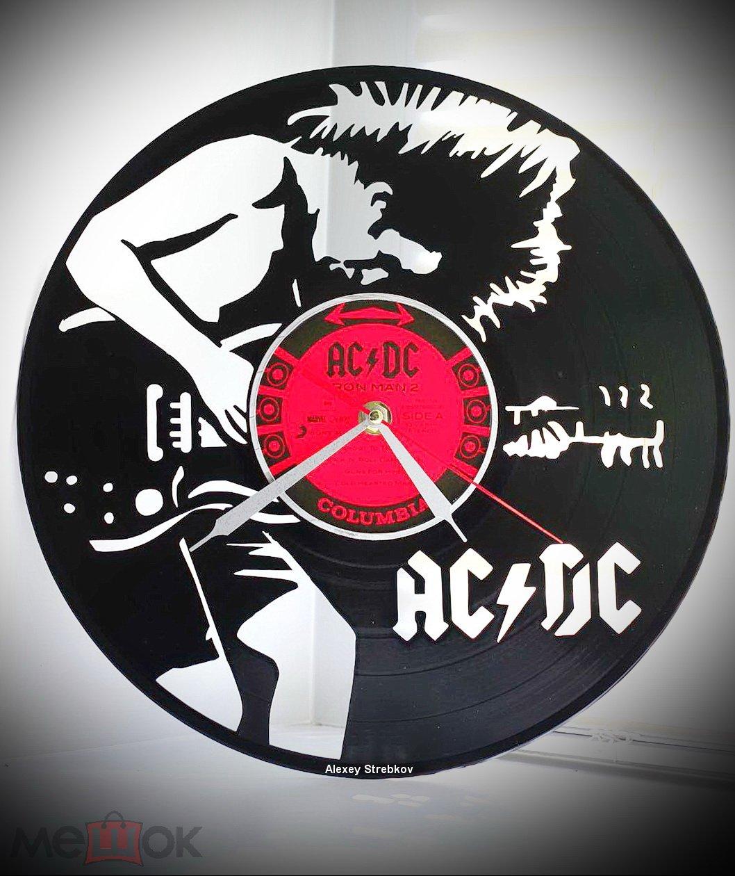 AC DC. Часы из пластинки. Подарок рокеру.