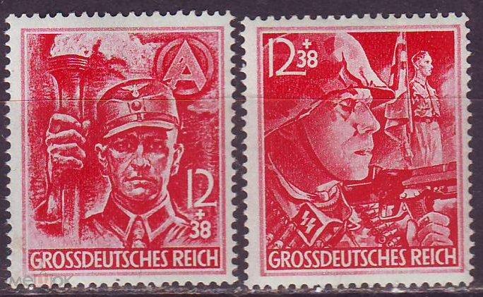 Германия рейх 1945г. Mi№909-910 воины SA и SS  ** MNH